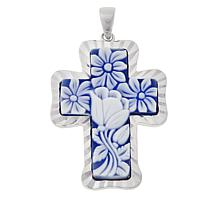 Michael Anthony Jewelry® Raised Relief Floral Resin Cross Pendant