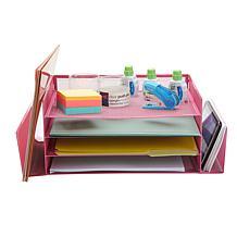 Mind Reader Metal Mesh 4-Section 2-Side Desk Organizer