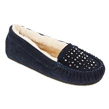 Minnetonka Starling Rhinestone Suede Slipper with Gift Bag