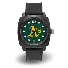 "MLB Sparo Team Logo ""Prompt"" Black Strap Sports Watch - Athletics"