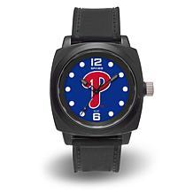 "MLB Sparo Team Logo ""Prompt"" Black Strap Sports Watch - Phillies"