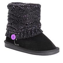 MUK LUKS Patti Kid's Knit Cuff Boot - Ebony/Lilac