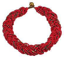 Natural Beauties Red Coconut Shell and Wood Bead Braided Necklace