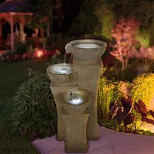 Navarro Cascade Bowls Fountain with LED Lights