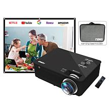 "NAXA Indoor 1080p Projector with 100"" Screen and Carry Case"
