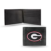 NCAA Embroidered Leather Billfold Wallet - Georgia