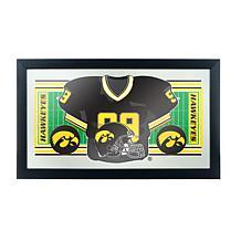 NCAA Framed Football Jersey Mirror - University of Iowa