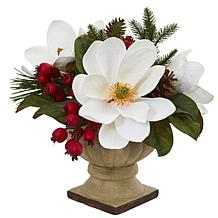 "Nearly Natural 15"" Magnolia, Pine & Berries Artificial Arrangement"