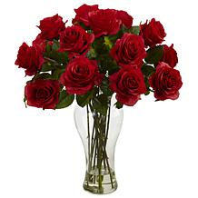 Nearly Natural Blooming Silk  Roses Flower Arrangement