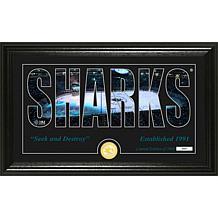 NHL Silhouette Panoramic Bronze Coin Photo Mint - San Jose Sharks
