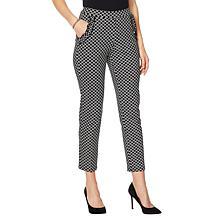 Nina Leonard High Tech Crepe Pant with Ruffle Pockets