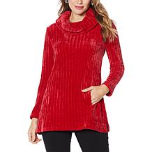 Nina Leonard Long-Sleeve Cowl Neck Sweater Tunic