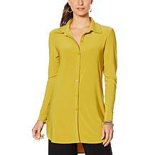 Nina Leonard Miracle Matte Jersey Button-Up Shirt