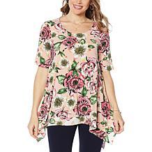 Nina Leonard Miracle Matte Jersey Printed Layered Tunic