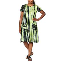 Nina Leonard Tie Dye Trapeze Dress with Pockets
