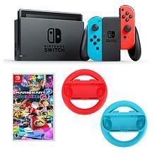 "Nintendo Switch Bundle with ""Mario Kart 8"" Game & Steering Wheels"