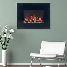 Northwest Black Glass Panel Electric Fireplace Wall Mount   Remote