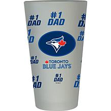 "Officially Licensed MLB ""#1 Dad"" Frosted Pint Glass - Blue Jays"