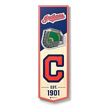 """Officially Licensed MLB 6"""" x 19"""" 3D Stadium Banner - Cleveland Indians"""