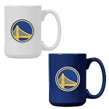 Officially Licensed NBA  15 oz. Team Colored Mug Set - Warriors