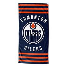 Officially Licensed NHL 620 Oilers Stripes Beach Towel