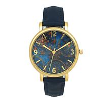 Olivia Pratt Goldtone Blue Dial Navy Faux Leather Strap Watch