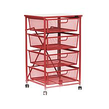 Origami 4-Drawer Kitchen Cart with Wood Shelf
