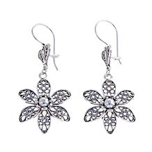 Ottoman Jewelry Sterling Silver Floral Earrings