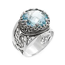 Ottoman Silver 7ct Round Blue Topaz Ring