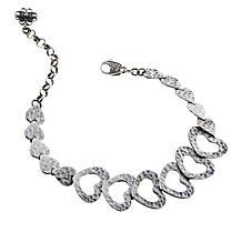 Ottoman Silver Hammered Filigree Heart Station Bracelet