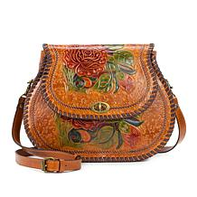 Patricia Nash Arezzo Handpainted Tooled Leather Rose Saddle Bag
