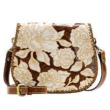 Patricia Nash Salerno Leather Embroidered Saddle Bag