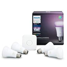 Philips Hue Starter Kit with 4 Smart LED Color Bulbs and Hue Bridge