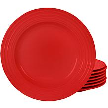 "Plaza Cafe 10.5"" Dinner Plate Set in Red, Set of 8"