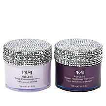 PRAI Ageless Throat & Decolletage Day & Night Cremes w/Bejeweled Lids