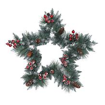 """Puleo International 30"""" Sterling Pine Star  Wreath with Silver Glitter"""