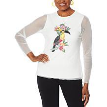 Rara Avis by Iris Apfel Embroidered Mesh T-Shirt