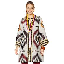 Rara Avis by Iris Apfel Ikat Coat with Trim