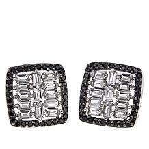 Rarities 1.35ctw Black Spinel and White Topaz Square Stud Earrings