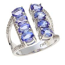 Rarities 3.12ctw Tanzanite and White Zircon Sterling Silver Ring