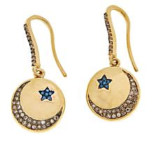 Rarities Champagne and Blue Diamond Moon and Star Disc Drop Earrings