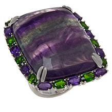 Rarities Fluorite, Chrome Diopside and Amethyst Ring