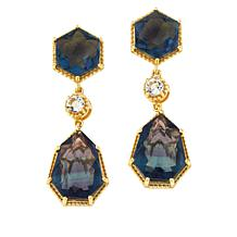 Rarities  Gold-Plated Fluorite and White Topaz Drop Earrings