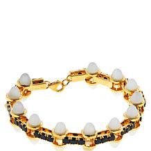 Rarities Gold-Plated Gem and Black Spinel Geometric Line Bracelet
