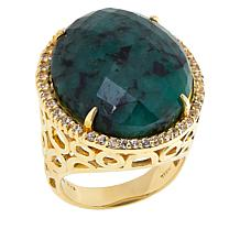 Rarities Gold-Plated Raw Emerald and White Zircon Oval Ring