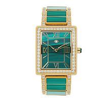 Rarities Goldtone Stainless Steel Gemstone Inlay Bracelet Watch