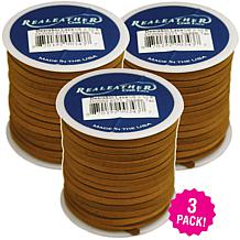 """Realeather Crafts Deerskin Lace Spool 3-pack - Saddle Tan, .125"""" x ..."""