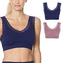 Rhonda Shear 2-pack Ribbed Knit Lace-Trim Leisure Bra