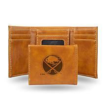 Rico Laser-Engraved Brown Tri-fold Wallet - Sabres