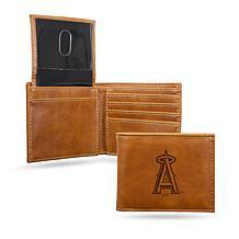 Rico MLB Laser-Engraved Brown Billfold Wallet - Angels